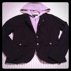 Black Blazer Jacket With Faux Grey Hoodie